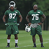Lawrence Thomas #97, left, stands alongside Anthony Johnson #75 during New York Jets Training Camp at the Atlantic Health Jets Training Center in Florham Park, NJ on Thursday, Aug. 10, 2017.