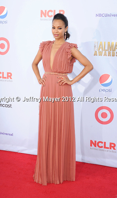 PASADENA, CA - SEPTEMBER 16: Zoe Saldana arrives at the 2012 NCLR ALMA Awards at Pasadena Civic Auditorium on September 16, 2012 in Pasadena, California.
