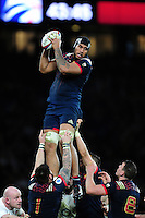 Sebastien Vahaamahina of France wins the ball at a lineout. RBS Six Nations match between England and France on February 4, 2017 at Twickenham Stadium in London, England. Photo by: Patrick Khachfe / Onside Images