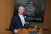 "Dan Rajkowski, Executive Vice President and Chief Operating Officer of the Charlotte Knights, announces the return of the Charlotte Baseball Hall of Fame, which will be called the ""Charlotte Baseball Roundtable of Honor"", at BB&T Ballpark on February 17, 2016 in Charlotte, North Carolina.  The Triple-A Baseball All-Star game and associated events will take place July 11-13, 2016 at BB&T Ballpark.  (Brian Westerholt/Four Seam Images)"