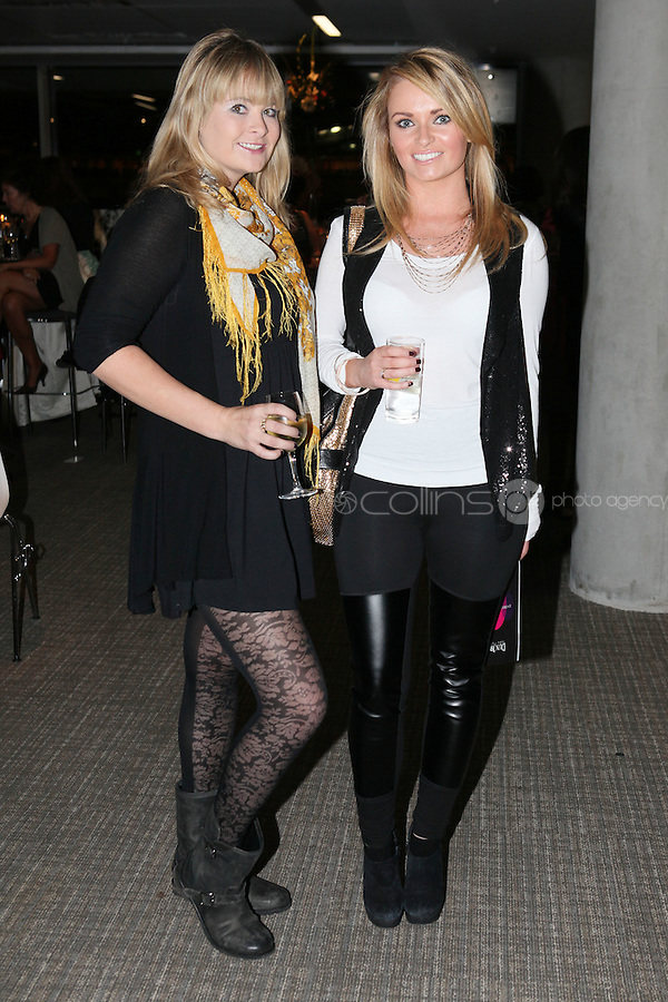 NO FEE 14/10/2010.  Bóthar's Rugby Rocks Fashion.  Rose Fogarty and Aoife Bushell are pictured at Bóthar's Rugby Rocks Fashion fundraising event at the Aviva Stadium in Dublin on Thursday night were {insert names here}. All proceeds from the event go towards Bóthar's projects in Pakistan. To find out more about Bóthar's work in Pakistan or in any of the 35 project countries Bóthar works in, lo-call 1850 82 99 99 or visit www.bothar.org. Picture James Horan/Colllins Photos