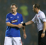 Gutted Rangers captain David Weir shakes hands with referee Jonas Eriksson after the match