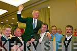 1590-1612.John ODonoghue (FF) celebrates after being elected on the third count at the South Kerry count in The Malton Hotel, Killarney, last Friday...