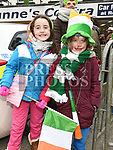 Emma and Sarah Murphy at the St. Patrick's day parade in Ardee. Photo:Colin Bell/pressphotos.ie