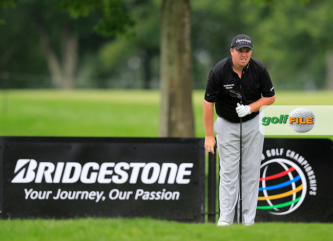 Shane Lowry (IRL) tees off the 9th tee during Friday's Round 1 of the 2013 Bridgestone Invitational WGC tournament held at the Firestone Country Club, Akron, Ohio. 2nd August 2013.<br /> Picture: Eoin Clarke www.golffile.ie