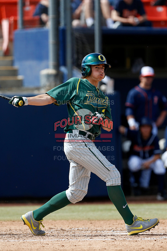 Aaron Payne #20 of the Oregon Ducks bats against the Cal State Fullerton Titans at Goodwin Field on March 3, 2013 in Fullerton, California. (Larry Goren/Four Seam Images)