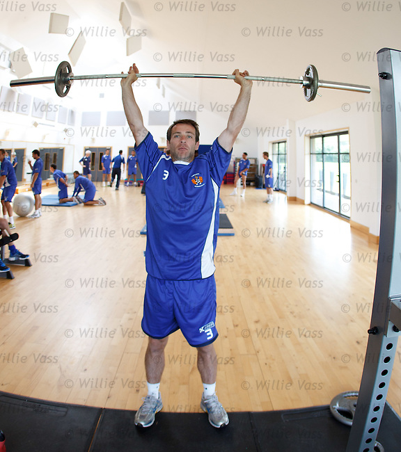 Garry Hay goes through his paces in the gym as Kilmarnock players report back for pre-season training