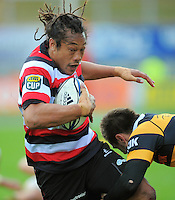 Counties' Tana Umaga is tackled by Andre Taylor. ITM Cup rugby match - Taranaki v Counties-Manukau Steelers at Yarrow Stadium, New Plymouth, New Zealand on Sunday 12 September 2010. Photo: Dave Lintott/lintottphoto.co.nz.