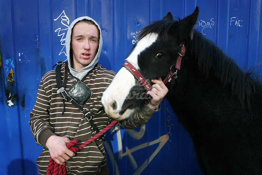 2/11/2008. Peter Lawlor is pictured at the Smithfield horse market Dublin. The Dublin city council want to move the market but face difficulties because of ancient market by laws..Picture James Horan/Photocall Ireland