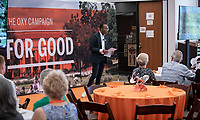 The Oxy Campaign For Good in the Academic Commons, Saturday, June 22.<br /> Guests learn about the College's recently announced comprehensive campaign, The Oxy Campaign For Good, which seeks to raise $225 million for financial aid, transformational classroom experiences, the preservation and enhancement of our beautiful campus, and to build the Oxy Fund.<br /> (Photo by Marc Campos, Occidental College Photographer)