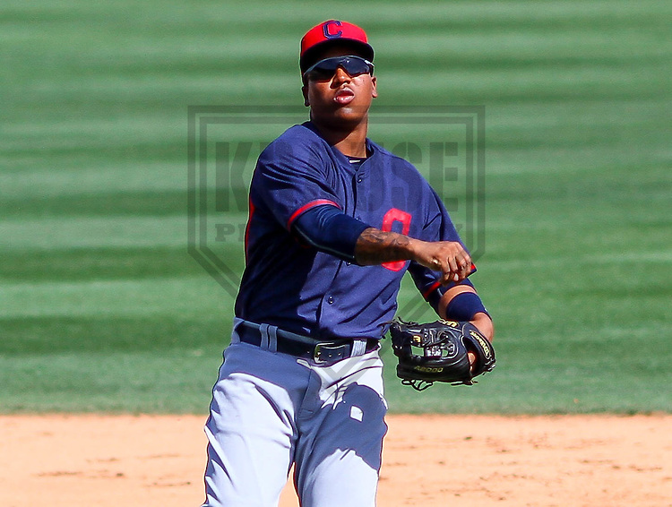 GLENDALE - March 2015: Jose Ramirez (11) of the Cleveland Indians during a spring training game against the Los Angeles Dodgers on March 17th, 2015 at Camelback Ranch in Glendale, Arizona. (Photo Credit: Brad Krause)