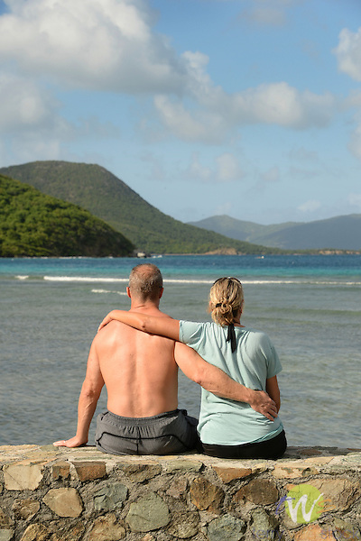 Leinster Bay. Annaberg Point, USVI. Couple enjoying view.