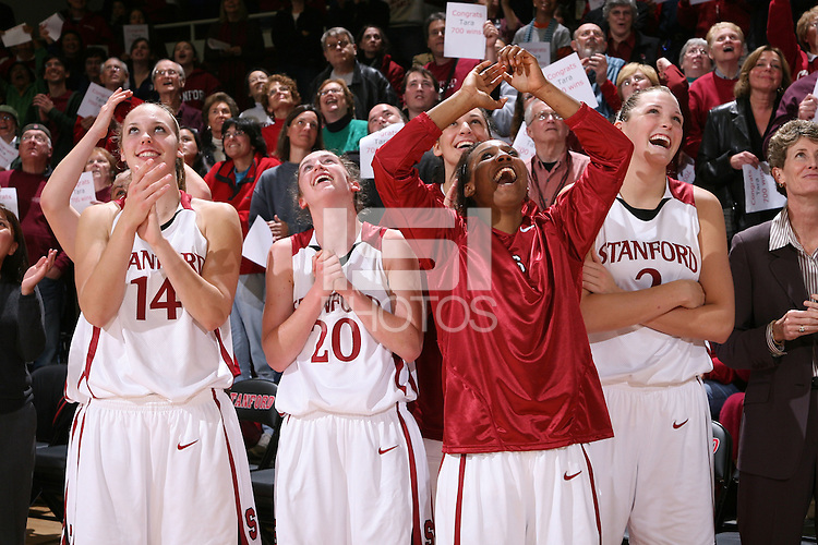 28 December 2007: Kayla Pedersen, Hannah Donoghe, Candice Wiggins and Jayne Appel after Stanford's 105-47 win over Washington State at Maples Pavilion in Stanford, CA.