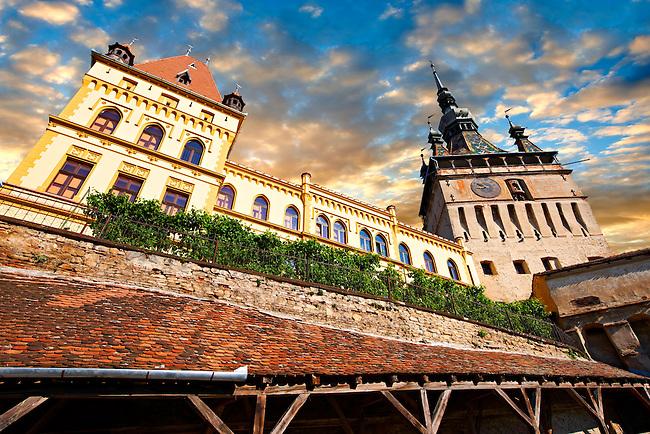 Medieval clock tower & gate of Sighisoara Saxon fortified medieval citadel, Transylvania, Romania