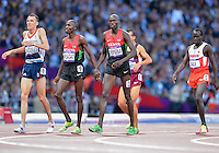 August 05, 2012: Andrew Baddeley of GBR, Silas Kiplagat and Nixon Kiplimo Chepseba of KEN, Belal Mansoor Ali of BHR after competing in men's 1500m semifinal event at the Olympic Stadium on day nine of 2012 Olympic Games in London, United Kingdom.