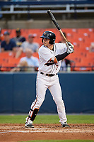 Frederick Keys second baseman Preston Palmeiro (7) at bat during the second game of a doubleheader against the Lynchburg Hillcats on June 12, 2018 at Nymeo Field at Harry Grove Stadium in Frederick, Maryland.  Frederick defeated Lynchburg 8-1.  (Mike Janes/Four Seam Images)