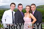 Andrew O Finn, Eoin Hiaorlatha, Micaela Ní Odhráin and Luke Gleasure, enjoying Gael Choláiste Chiarraí debs at Ballyroe Heights hotel on Monday evening.