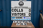 Atherton Collieries 1, Boston United 0, 23/11/19. Alder House, FA Trophy, third qualifying round. The scoreboard ready for use before Atherton Collieries played Boston United in the FA Trophy third qualifying round at the Skuna Stadium. The home club were formed in 1916 and having secured three promotions in five season played in the Northern Premier League premier division. This was the furthest they had progressed in the FA Trophy and defeated their rivals from the National League North by 1-0, Mike Brewster scoring a late winner watched by a crowd of 303 spectators. Photo by Colin McPherson.