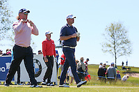 Big guns of Miguel Angel Jimenez (ESP), Thomas Bjorn (DEN) and Alex Noren (SWE) head down the 7th during Round Two of the 2015 Nordea Masters at the PGA Sweden National, Bara, Malmo, Sweden. 05/06/2015. Picture David Lloyd | www.golffile.ie