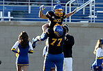 BROOKINGS, SD - NOVEMBER 11: Jacob Brown #1 from South Dakota State University is hoisted in the air by teammate Wes Genant #77 after a touchdown against Illinois State during their game Saturday afternoon at Dana J. Dykhouse Stadium in Brookings. (Photo by Dave Eggen/Inertia)