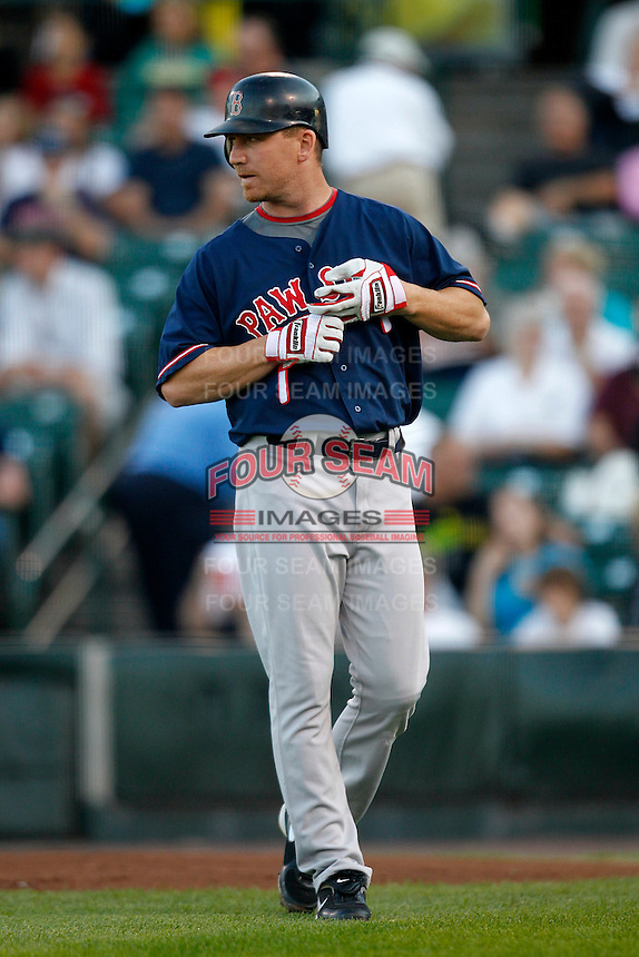 Boston Red Sox outfielder J.D. Drew #23 at the end of the first inning while playing in a rehab assignment game with the Pawtucket Red Sox against the Rochester Red Wings at Frontier Field on August 30, 2011 in Rochester, New York.  (Mike Janes/Four Seam Images)
