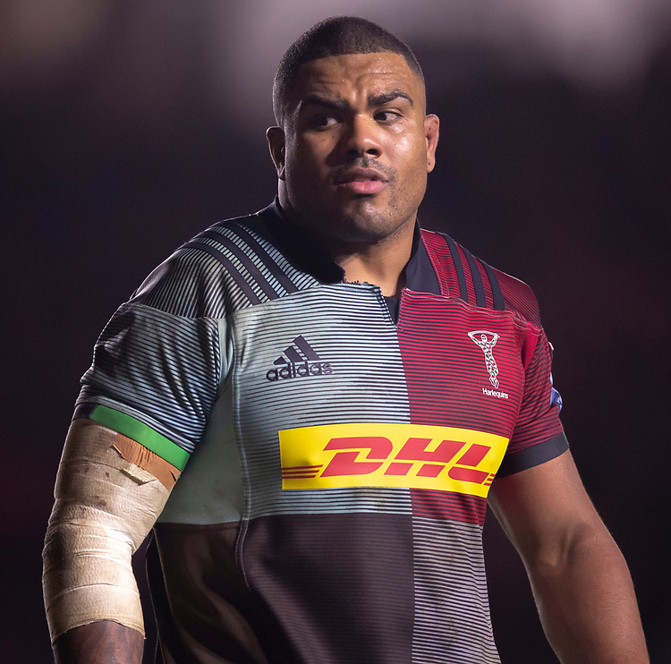 Harlequins' Kyle Sinckler<br /> <br /> Photographer Bob Bradford/CameraSport<br /> <br /> Gallagher Premiership Round 9 - Harlequins v Exeter Chiefs - Friday 30th November 2018 - Twickenham Stoop - London<br /> <br /> World Copyright &copy; 2018 CameraSport. All rights reserved. 43 Linden Ave. Countesthorpe. Leicester. England. LE8 5PG - Tel: +44 (0) 116 277 4147 - admin@camerasport.com - www.camerasport.com