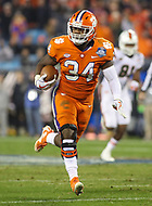 Charlotte, NC - December 2, 2017: Clemson Tigers linebacker Kendall Joseph (34) intercepts a pass during the ACC championship game between Miami and Clemson at Bank of America Stadium in Charlotte, NC. Clemson defeated Miami 38-3 for their third consecutive championship title. (Photo by Elliott Brown/Media Images International)