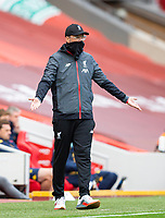 5th July 2020, Anfield, Liverpool, England;  Liverpools manager Jurgen Klopp wears a face covering during the Premier League match between Liverpool and Aston Villa at Anfield in Liverpool