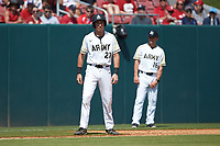 John McKenna (21) of the Army Black Knights takes his lead off of third base against the North Carolina State Wolfpack at Doak Field at Dail Park on June 3, 2018 in Raleigh, North Carolina. The Wolfpack defeated the Black Knights 11-1. (Brian Westerholt/Four Seam Images)