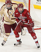 Dru Burns (BC - 7), Samantha Reber (Harvard - 12) - The Boston College Eagles defeated the visiting Harvard University Crimson 3-1 in their NCAA quarterfinal matchup on Saturday, March 16, 2013, at Kelley Rink in Conte Forum in Chestnut Hill, Massachusetts.