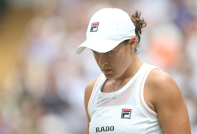 Ashleigh Barty (AUS) during her match against Harriet Dart (GBR) in their Ladies' Singles Third Round match<br /> <br /> <br /> Photographer Rob Newell/CameraSport<br /> <br /> Wimbledon Lawn Tennis Championships - Day 6 - Saturday 6th July 2019 -  All England Lawn Tennis and Croquet Club - Wimbledon - London - England<br /> <br /> World Copyright © 2019 CameraSport. All rights reserved. 43 Linden Ave. Countesthorpe. Leicester. England. LE8 5PG - Tel: +44 (0) 116 277 4147 - admin@camerasport.com - www.camerasport.com
