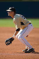 First baseman Tyler Smith #3 of the Wake Forest Demon Deacons on defense versus the Duke Blue Devils at Jack Coombs Field March 29, 2009 in Durham, North Carolina. (Photo by Brian Westerholt / Four Seam Images)
