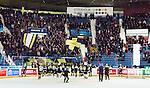 Stockholm 2014-12-01 Ishockey Hockeyallsvenskan AIK - S&ouml;dert&auml;lje SK :  <br /> AIK:s spelare jublar med AIK:s publik efter matchen mellan AIK och S&ouml;dert&auml;lje SK <br /> (Foto: Kenta J&ouml;nsson) Nyckelord:  AIK Gnaget Hockeyallsvenskan Allsvenskan Hovet Johanneshov Isstadion S&ouml;dert&auml;lje SSK jubel gl&auml;dje lycka glad happy supporter fans publik supporters inomhus interi&ouml;r interior