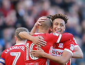 5th November 2017, Riverside Stadium, Middlesbrough, England; EFL Championship football, Middlesbrough versus Sunderland; Marcus Tavernier of Middlesbrough is hugged by team-mate Martin Braithwaite after he made it 1-0 in the 6th minute