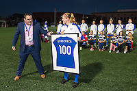 Allston, MA - Saturday Sept. 24, 2016: Boston Breakers General Manager Lee Billiard presents Kathryn Schoepfer a framed jersey on her 100th game. prior to a regular season National Women's Soccer League (NWSL) match between the Boston Breakers and the Western New York Flash at Jordan Field.