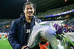 Shinji Okazaki (JPN),<br /> MARCH 29, 2016 - Football / Soccer :<br /> Shinji Okazaki of Japan celebrates his 100th international cap with a bouquet of flowers after the FIFA World Cup Russia 2018 Asian Qualifier Second Round Group E match between Japan 5-0 Syria at Saitama Stadium 2002 in Saitama, Japan. (Photo by AFLO)