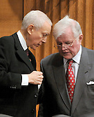 """Washington, D.C. - January 9, 2009 -- United States Senators Senator Orrin G. Hatch (Republican of Utah), left, and Edward M. """"Ted"""" Kennedy (Democrat of Massachusetts) share some thoughts during the testimony of United States Representative Hilda L. Solis (Democrat of California) during her confirmation hearing on her nomination to be United States Secretary of Labor before the United States Senate Committee on Health, Labor, Education, and Pensions in Washington, D.C. on Friday, January 9, 2009..Credit: Ron Sachs / CNP"""