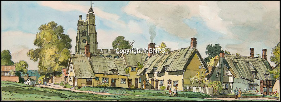 BNPS.co.uk (01202 558833)<br /> Pic: TomWren/BNPS<br /> <br /> Cavendish, Suffolk by F.W Baldwin.<br /> <br /> A collection of vintage posters used to promote Britain's railways during the golden age of steam have gone on sale for a whopping &pound;20,000 after being saved from the skip.<br /> <br /> Quick-thinking railway worker Albert Cook heard the 130 carriage panel prints from the 1930s including 12 original artworks were to be thrown away at London's Liverpool Street Station, so he asked permission to take them home.<br /> <br /> The art deco-style posters advertised popular destinations such as Northumberland's Whitley Bay, Woodhall Spa in Lincs and Dovercourt Bay in Essex as railway tourism opened up Britain to the masses.<br /> <br /> The archive will be sold by Onslows auctioneers in Blandford, Dorset, on July 14.