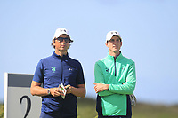 Neil Manchip (National Coach) and Tiernan McLarnon from Ireland on the 2nd tee during Round 1 Singles of the Men's Home Internationals 2018 at Conwy Golf Club, Conwy, Wales on Wednesday 12th September 2018.<br /> Picture: Thos Caffrey / Golffile<br /> <br /> All photo usage must carry mandatory copyright credit (© Golffile | Thos Caffrey)
