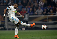Olympique de Marseille's Jordan Amavi kicks the ball during the UEFA Europa League final football match between Olympique de Marseille and Club Atletico de Madrid at the Groupama Stadium in Decines-Charpieu, near Lyon, France, May 16, 2018.<br /> UPDATE IMAGES PRESS/Isabella Bonotto