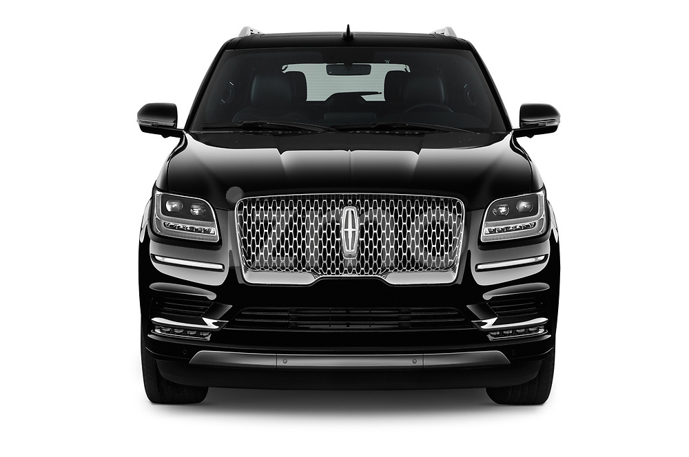 Car photography straight front view of a 2018 Lincoln Navigator Select L Extended 4x2 5 Door SUV