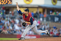 Scranton/Wilkes-Barre RailRiders starting pitcher Kyle Davies (36) delivers a pitch to the plate against the Durham Bulls at Durham Bulls Athletic Park on May 15, 2015 in Durham, North Carolina.  The RailRiders defeated the Bulls 8-4 in 11 innings.  (Brian Westerholt/Four Seam Images)