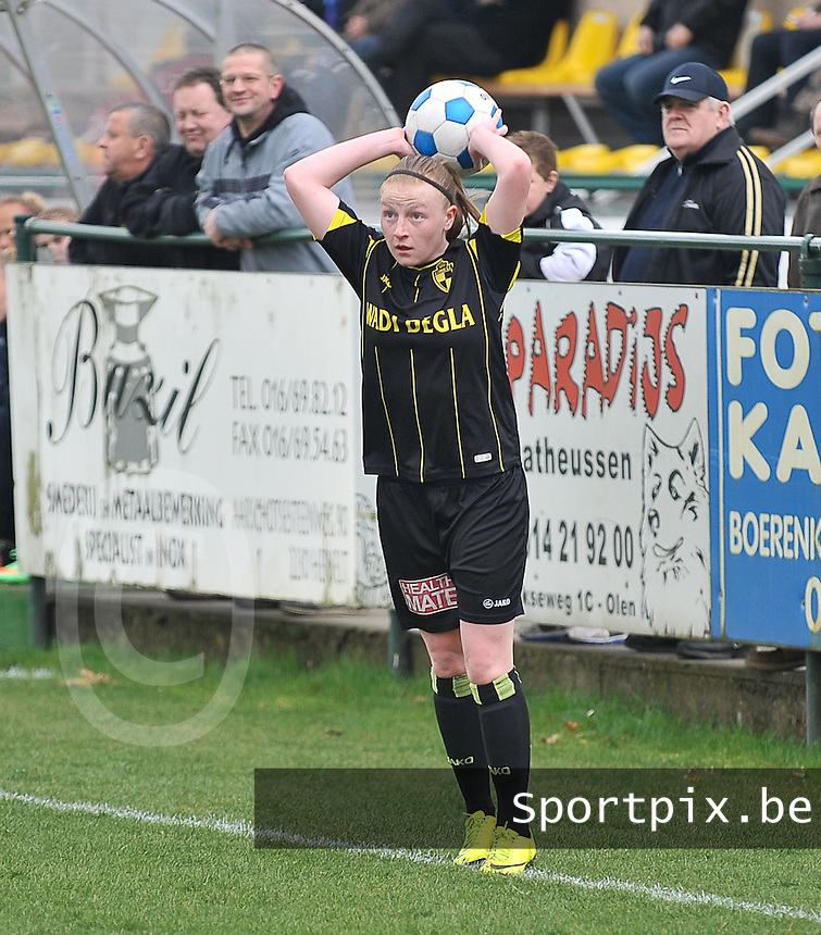 20140315 - WESTERLO , BELGIUM : Lierse Silke Leynen pictured during the soccer match between the women teams of SK Lierse Dames  and SC Heerenveen Vrouwen , on the 19th matchday of the BeNeleague competition Saturday 15 March 2014 in Westerlo . PHOTO DAVID CATRY