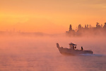 Seattle, Mount Rainier, Puget Sound, fishing boat, Washington State, sunrise, Salish Sea,