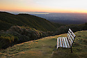 Benches at viewpoint on Mount Egmont ( Mount Taranaki), Egmont National Park, sunrise