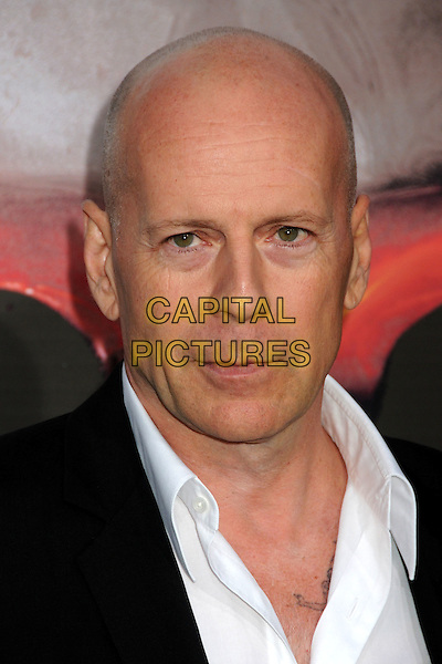 "BRUCE WILLIS .""The Expendables"" Los Angeles Premiere held at Grauman's Chinese Theatre, Hollywood, California, USA, .3rd August 2010..portrait headshot black white shirt .CAP/ADM/BP.©Byron Purvis/AdMedia/Capital Pictures."