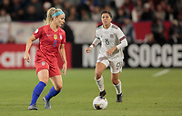 CARSON, CA - FEBRUARY 7: Julie Ertz #8 of the United States passes off the ball during a game between Mexico and USWNT at Dignity Health Sports Park on February 7, 2020 in Carson, California.