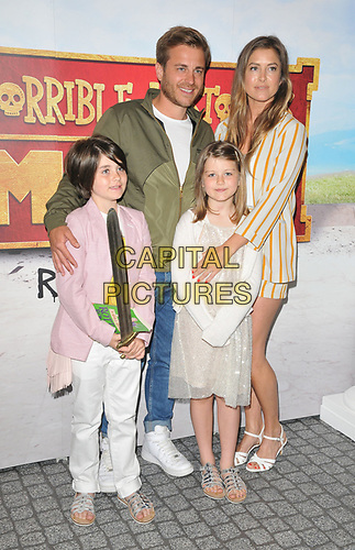 """Kevin Bishop and his family at the """"Horrible Histories: The Movie - Rotten Romans"""" world film premiere, Odeon Luxe Leicester Square, Leicester Square, London, England, UK, on Sunday 07th July 2019.<br /> CAP/CAN<br /> ©CAN/Capital Pictures"""