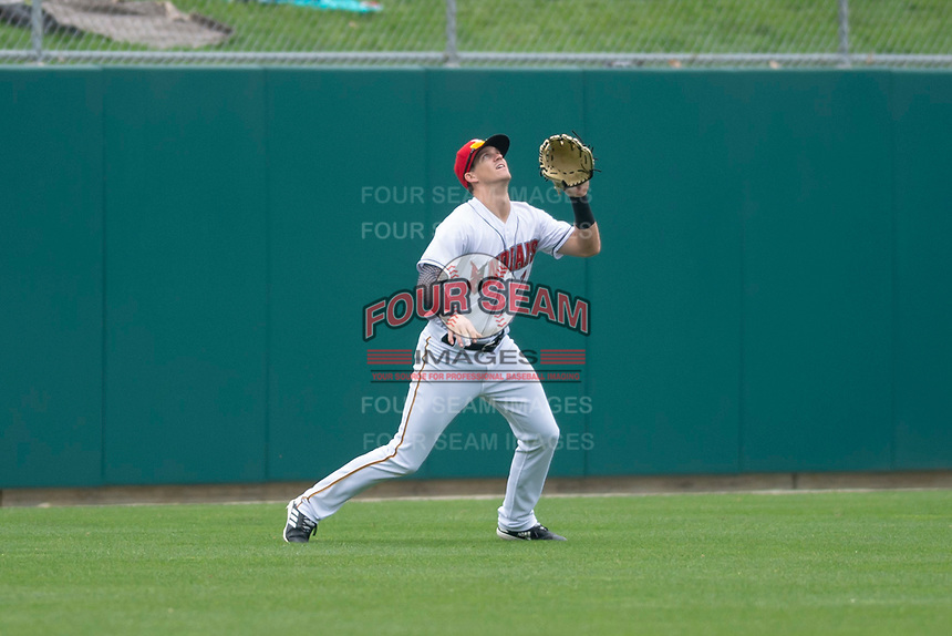 Indianapolis Indians left fielder Kevin Newman (2) during an International League game against the Columbus Clippers on April 30, 2019 at Victory Field in Indianapolis, Indiana. Columbus defeated Indianapolis 7-6. (Zachary Lucy/Four Seam Images)