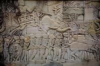 Stone carvings at Bayon Temple -Angkor, Cambodia